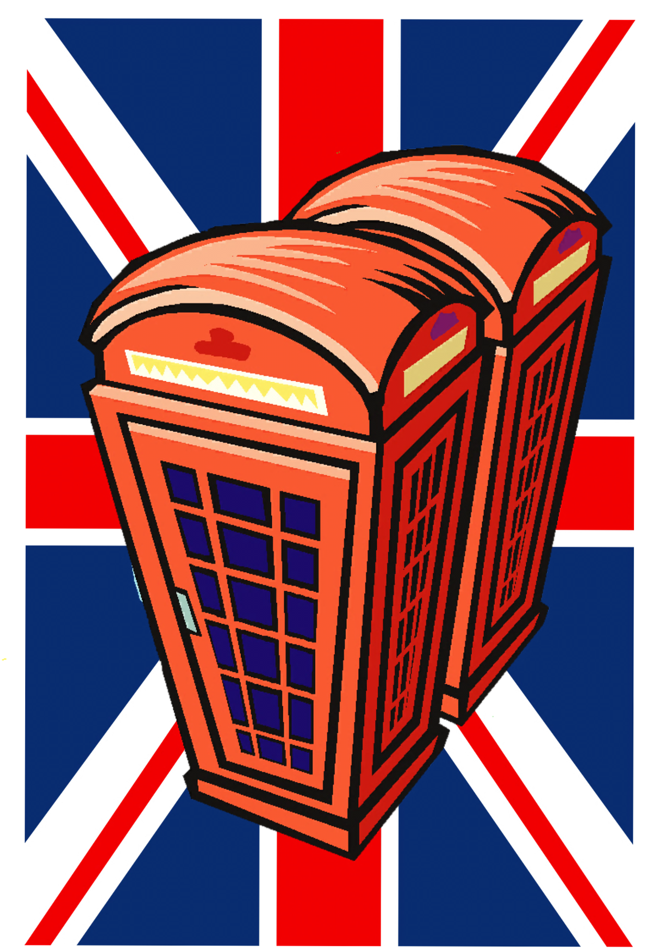 British flag and phone booths