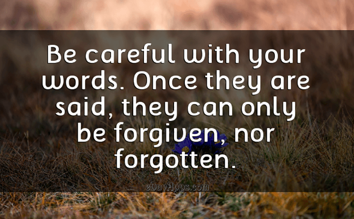 Words can be forgiven but not forgotten.